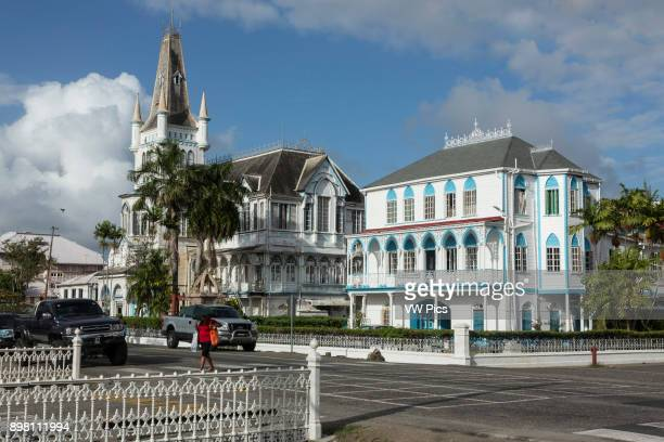 The old City Hall in Georgetown Guyana was built of timber and completed 1889 in the Danube Gothic style It is no longer the city hall and has fallen...