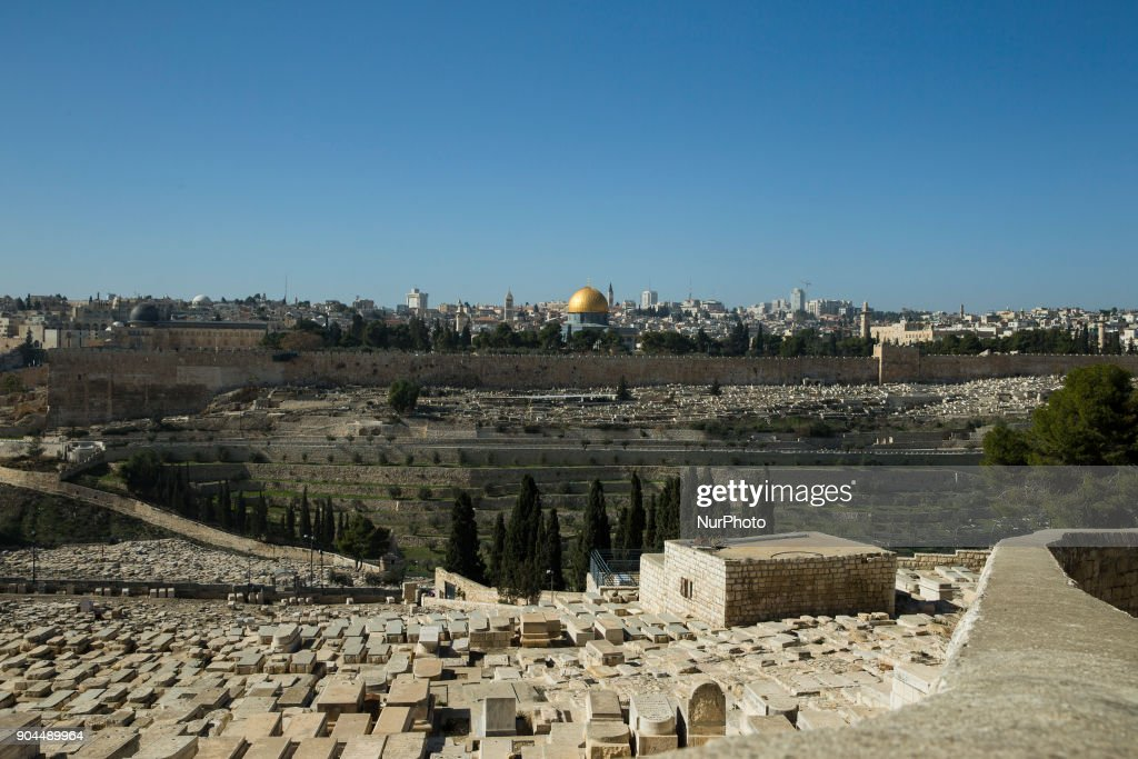 The old city is seen from the Mount of Olives in Jerusalem on January 13, 2018.