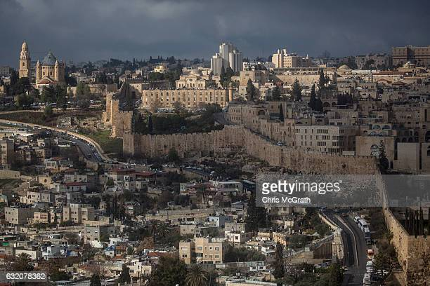 The Old City is seen from the Mount of Olives on January 13, 2017 in Jerusalem, Israel. 70 countries attended the recent Paris Peace Summit and...