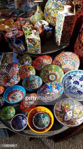 the old city of jerusalem, multi-colored ethnic motives, david st. at jaffa gate - jerusalem old city stock pictures, royalty-free photos & images