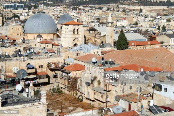 The old city of Jerusalem, rooftops and the Church of the Holy sepulchre