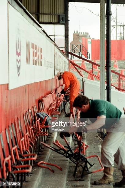 The old clock and stands at Ayresome Park the home of Middlesbrough FC are taken down following the clubs move to their new stadium 30th April 1996