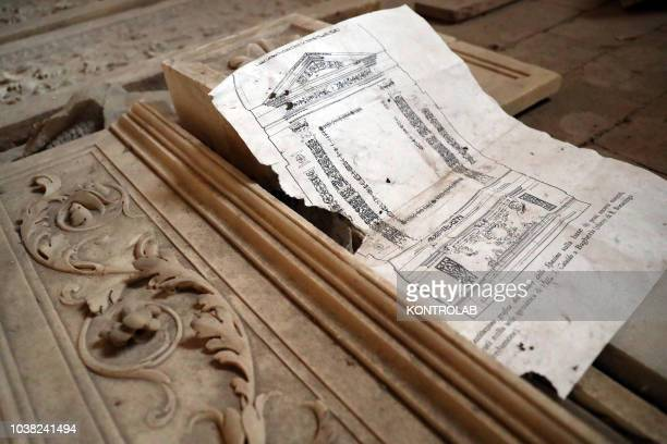 The old drawing of the Altare del Gagini in the complex of Spasimo The altar will be restored and recomposed in the Anzalone Chapel also known as the...