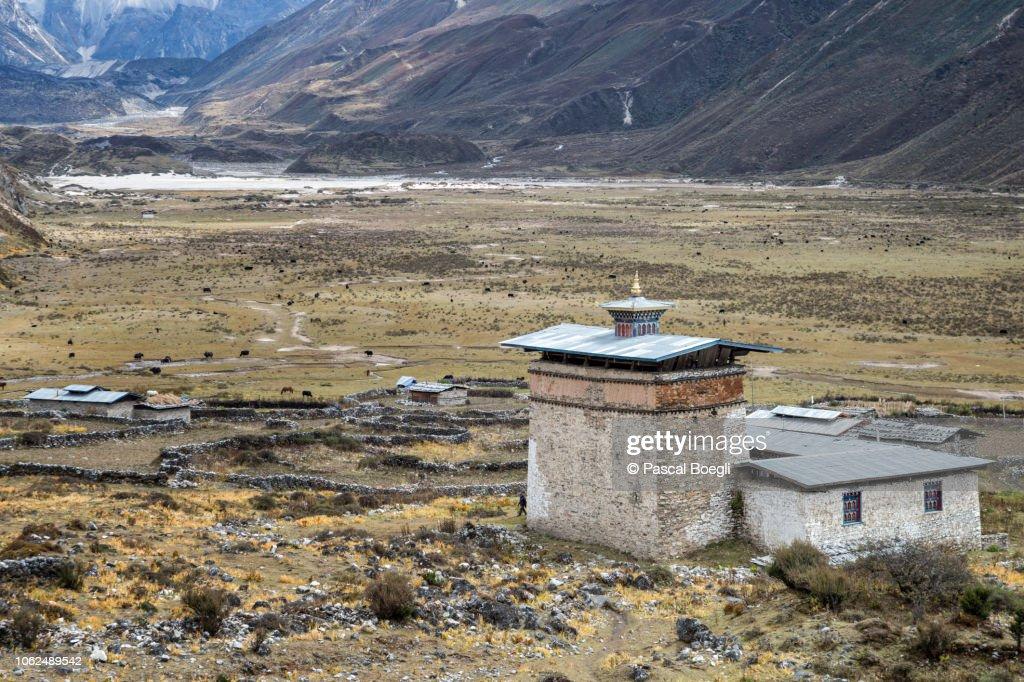 The old dzong of Chozo, Lunana Gewog, Gasa District, Snowman Trek, Bhutan : Stock Photo