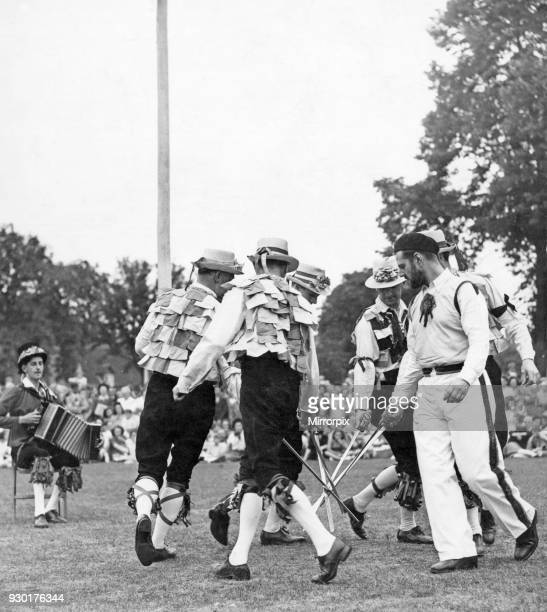 The Old English Folk Dance Society performing the sword dance at Stratford Upon Avon Musical accompaniment provided by the accordion 2nd August 1948