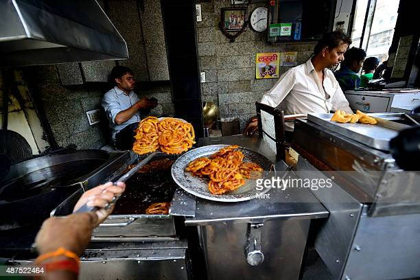 The old famous Jalebi wala at the corner of Dariba in Chandni Chowk on August 20 2014 in New Delhi India Chandni Chowk often called the food capital...