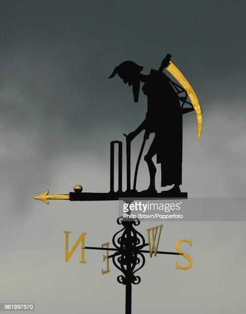 The Old Father Time weather vane above the scorer's box during the 1st Test match between England and New Zealand at Lord's Cricket Ground London...