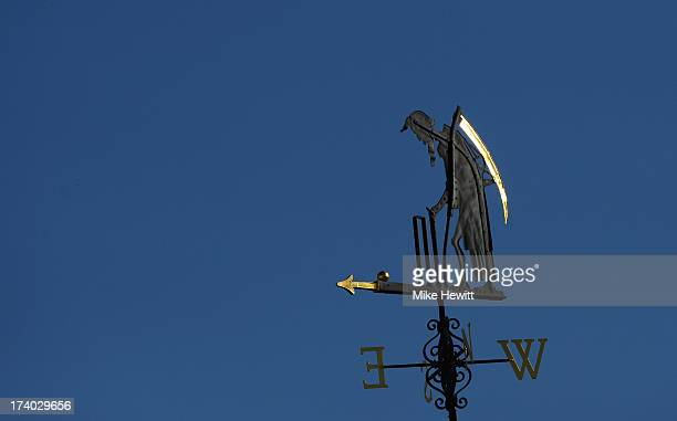 The Old Father Time weather vane during day two of the 2nd Investec Ashes Test match between England and Australia at Lord's Cricket Ground on July...