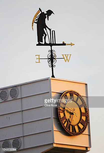 The Old Father Time weather vane is pictured during the 4th NatWest One Day International between England and Pakistan at Lord's on September 20 2010...