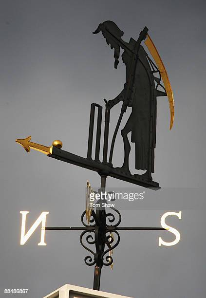 The Old Father Time weather vane is pictured during the ICC World Twenty20 Super Eights match between England and India at Lord's on June 14 2009 in...