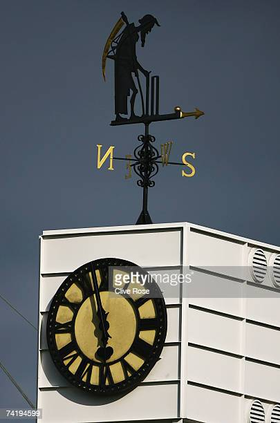 The Old Father Time weather vane is seen during day three of the First Test between England and the West Indies at Lord's Cricket Ground on May 19...