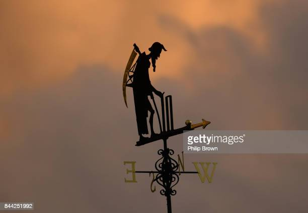 The Old Father Time weather vane pictured during the third cricket test between England and the West Indies at Lord's Cricket Ground on September 8...
