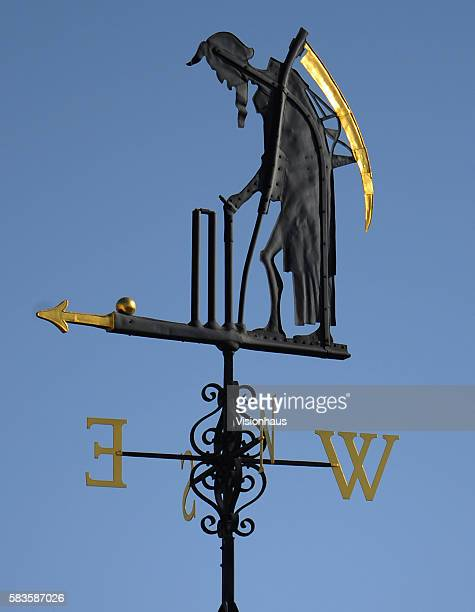 The Old Father Time weathervane atop the Mound Stand during Day One of the 2nd Investec Ashes Test between England and Australia at Lord's Cricket...