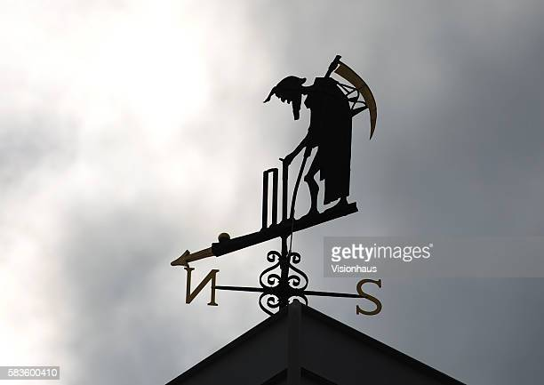 The Old Father Time weathervane on the Mound Stand during Day Three of the 2nd Investec Ashes Test between England and Australia at Lord's Cricket...
