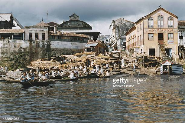 The old fish market part of the Mercado Adolpho Lisboa on the banks of the Rio Negro in Manaus Brazil circa 1960