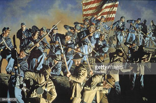 The Old Flag Never Touched the Ground Fort Wagner South Carolina 18 July 1863 Sergeant William Carney protecting the flag during a skirmish between...