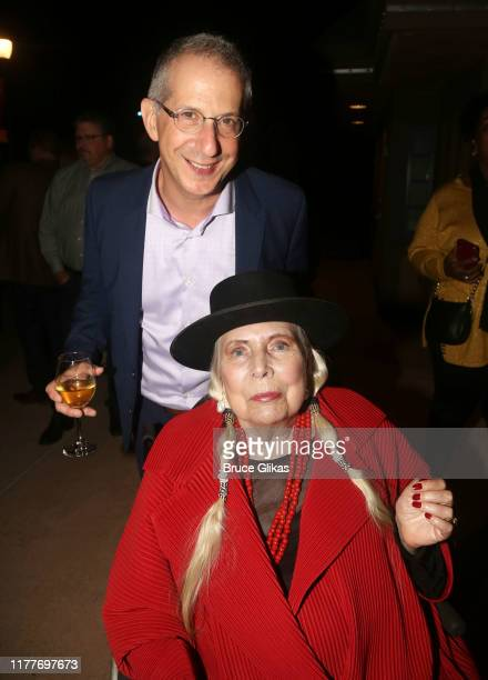 """The Old Globe Artistic Director Barry Edelstein and Joni Mitchell pose at the opening night of the new musical """"Almost Famous"""" at The Old Globe..."""