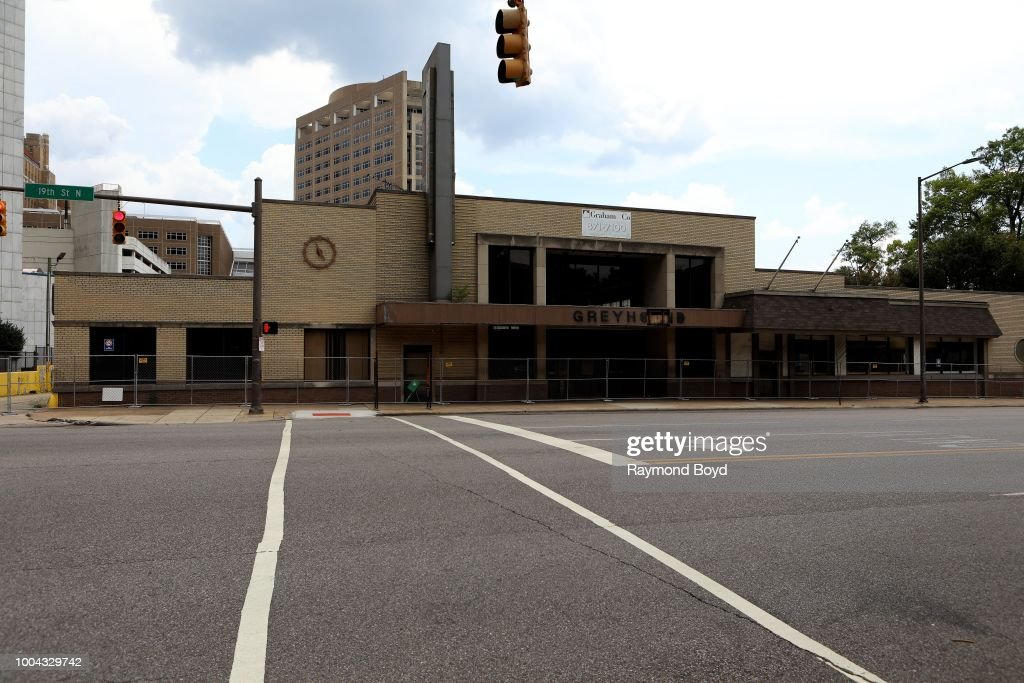 The old Greyhound Bus Station in Birmingham, Alabama on July