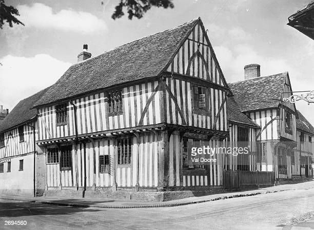 The old half timbered Woolhall Tudor in Lavenham Suffolk