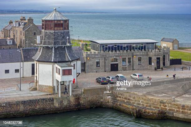 The old harbour master's control tower at entrance to the Aberdeen port Aberdeenshire Scotland UK