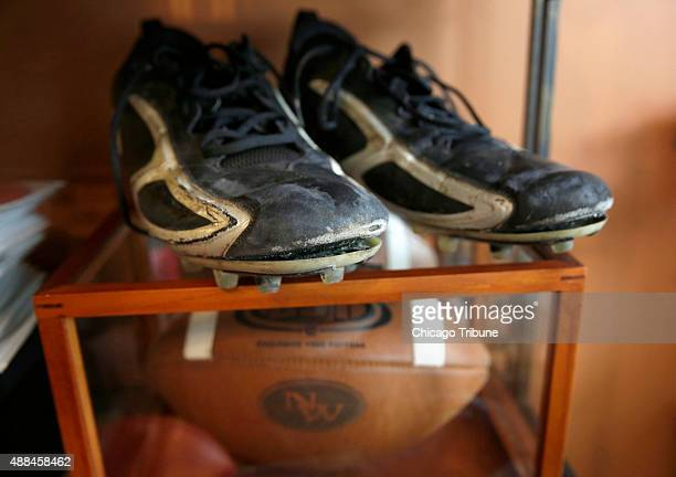 The old high school cleats of Shawn Afryl are seen at the family's home in Skokie Ill on Tuesday Sept 8 2015