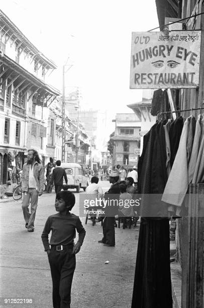 The Old Hungry Eye Restaurant on Freak Street Katmandu where hippies and local Nepalese mingle March 1977