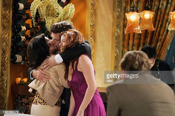 WILL GRACE The Old Man and the Sea Episode 3 Pictured Megan Mullally as Karen Walker Alec Baldwin as Malcolm Debra Messing as Grace Adler Andy...
