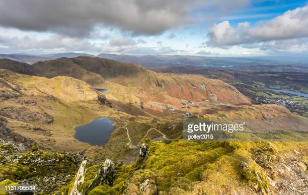 the old man of coniston - summit viewpoint - lake district - lake district autumn stock pictures, royalty-free photos & images