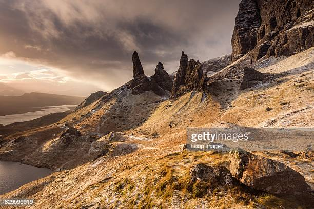 The Old Man of Storr after a dusting of snow on the Trotternish peninsula Old Man of Storr Scotland