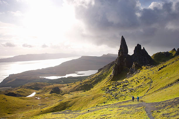 The Old Man of Storr towering above Loch Leathan and Sound of Raasay, hikers on hillside, Trotternish Peninsula, near Portree.