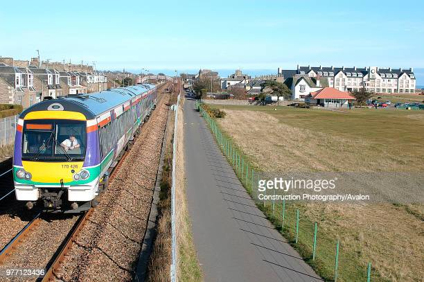 The old meets the new at Carnoustie as the world famous course for Scotland's oldest game is passed by one of ScotRail's latest Turbostar trainsets...