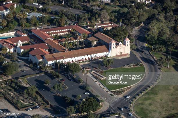 The Old Mission Santa Barbara is viewed in this aerial photo on February 23 in Santa Barbara California A combined series of natural disasters the...