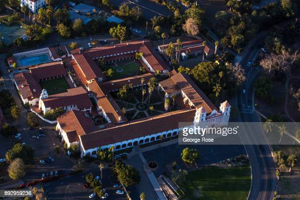The Old Mission Santa Barbara is viewed in this aerial photo taken on December 4 over Santa Barbara California Because of its close proximity to...