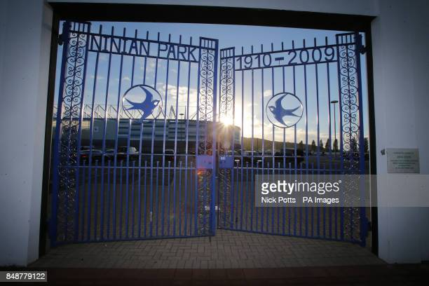 The old Ninian Park Gates with the plaque in memory of former Scotland Manager Jock Stein prior to the 2014 FIFA World Cup Qualifying match at...