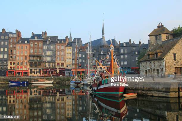 the old picturesque port of honfleur, france - frans sellies stockfoto's en -beelden