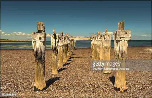 The old pier at Lillies beach on Flinders Island, Bass Strait, Tasmania, Australia.