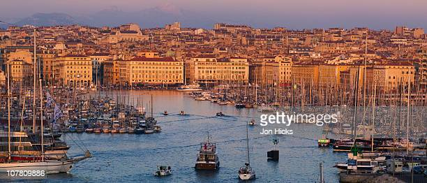 The old port of Marseilles at sunset.