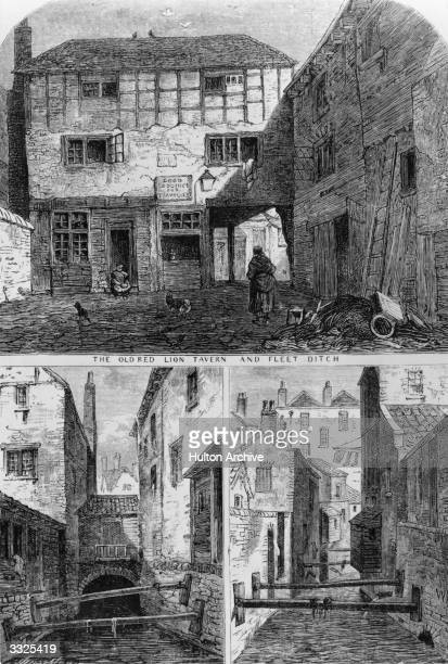 The Old Red Lion tavern and the slums at Fleet Ditch London Original Artist By T Archer
