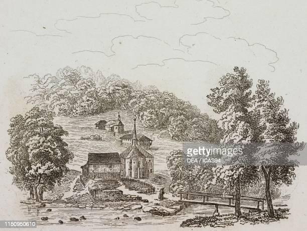 The old residence of Nicholas of Flue FlueliRanft engraving from La Svizzera pittoresca e i suoi dintorni by Alexandre Martin Mendrisio 1838