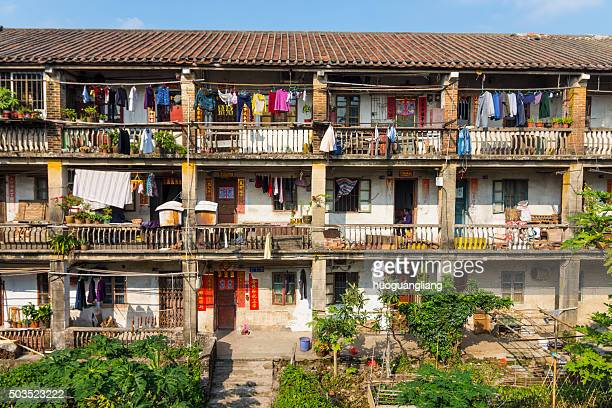 the old residential buildings - slum stock pictures, royalty-free photos & images