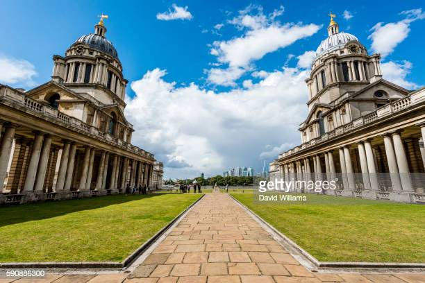 the old royal naval college, centrepiece of maritime greenwich, a world heritage site in london, uk. - unesco world heritage site stock pictures, royalty-free photos & images