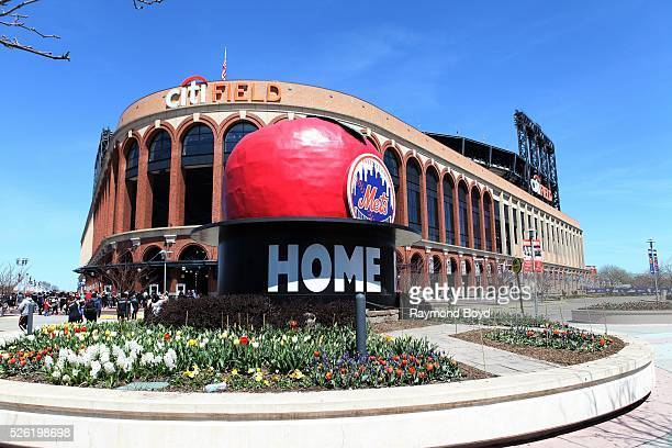 The old Shea Stadium 'Home Run Apple' sits outside Citi Field, home of the New York Mets baseball team in Flushing, New York on April 16, 2016.