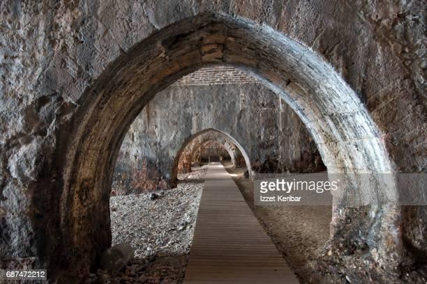 The old shipyards, arches near the sea, Alanya, Antalya Turkey