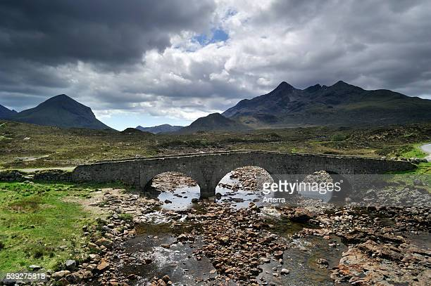 The Old Sligachan Bridge with view over Sgurr nan Gillean and the Red and Black Cuillins Isle of Skye Scotland UK