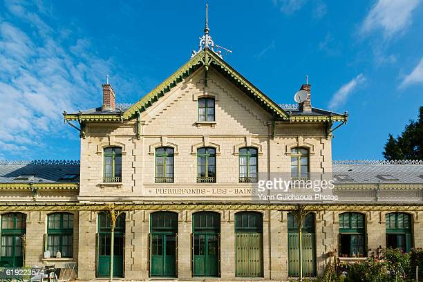 the old station building at pierrefonds les bains, oise,picardy, france - コンピエーニュ ストックフォトと画像