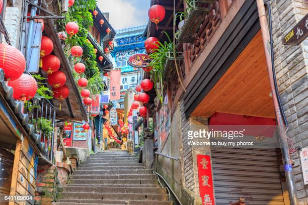 the old street of jiufen, taiwan - taiwan stock photos and pictures
