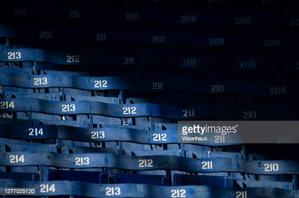 The old style of seating in the stands before the Womens FA Cup Quarter Final match between Everton FC and Chelsea FC at Goodison Park on September...