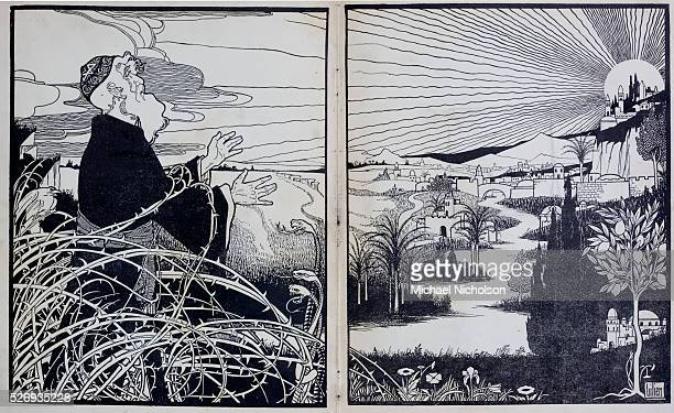 The old tailor gazing at the promised land but held back by barbed wire and serpents Illustration by Ephraim Moses Lilien from Songs of the Ghetto a...
