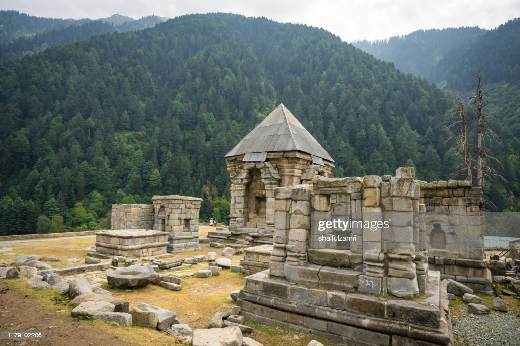 The old temple ruins at Naranag, Kashmir, India. : Stock Photo