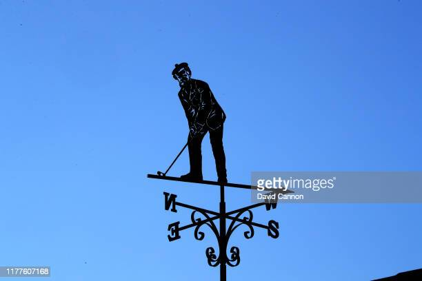 The Old Tom Morris weathervane on the roof of the Alfred Dunhill scoreboard beside the 17th green during the third round of the Alfred Dunhill Links...